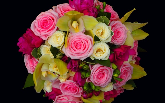 Wallpaper A bouquet roses, beautiful flowers