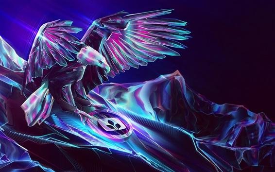 Fond d'écran Résumé de conception, aigle, montagnes, lumière, ailes, silhouette