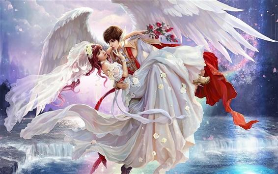 Fond d'écran Peinture d'art, jeune mariée, garçon, ailes, chute d'eau, rose