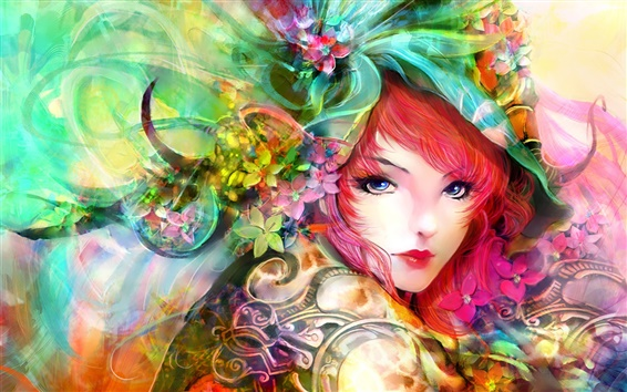 Wallpaper Art painting, girl, eyes, face, flowers, red hair, colorful
