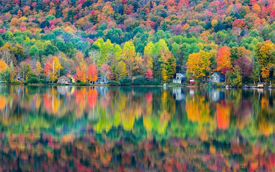 Wallpaper Autumn beautiful landscape, forest, house, lake, reflection
