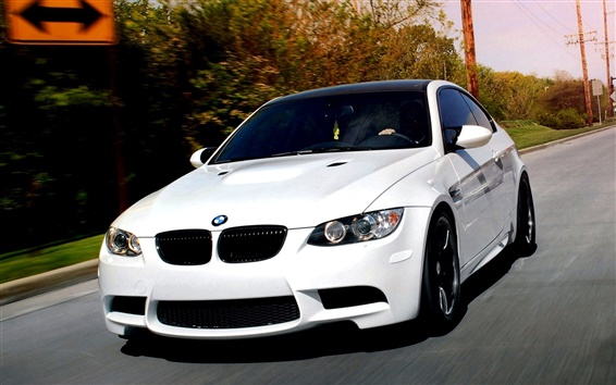 Wallpaper BMW M3 E92 white car on the road