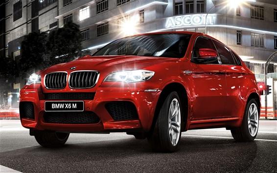 Обои BMW X6 красный автомобиль