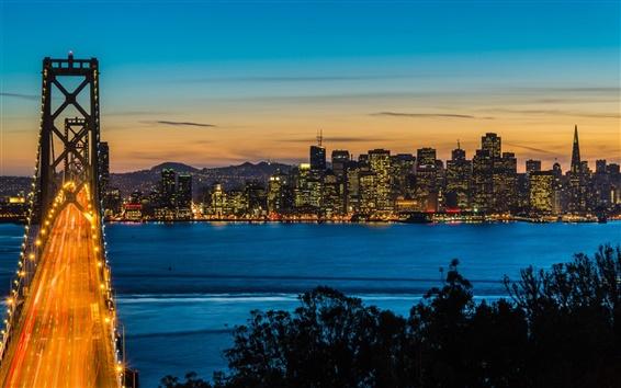 Wallpaper Bay Bridge, Oakland, San Francisco, California, USA, night, city lights