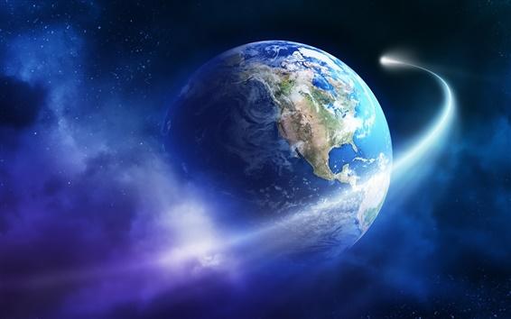 Обои Красивая Земля, планета, астероид, комета
