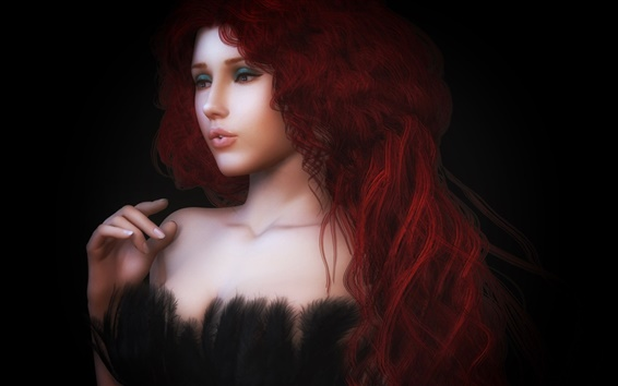 Wallpaper Beautiful rendering girl, red hair, curls, dress, feathers