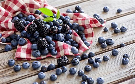 Wallpaper Berries, blueberries, blackberries, wood board