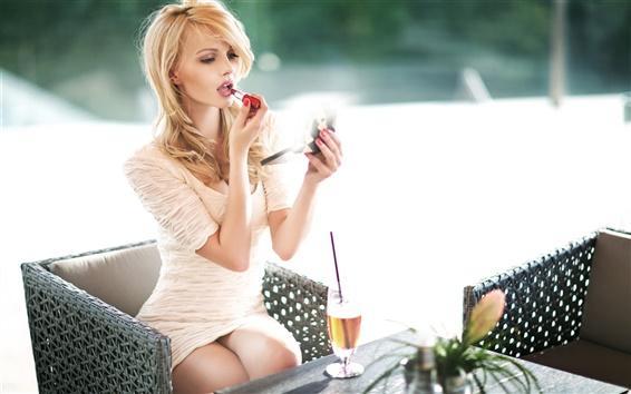 Wallpaper Blonde girl, white dress, painted lipstick