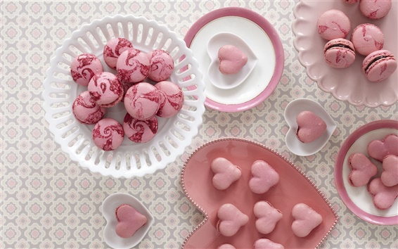 Wallpaper Cookies, macaroon, sweet food, dessert, love hearts, pink