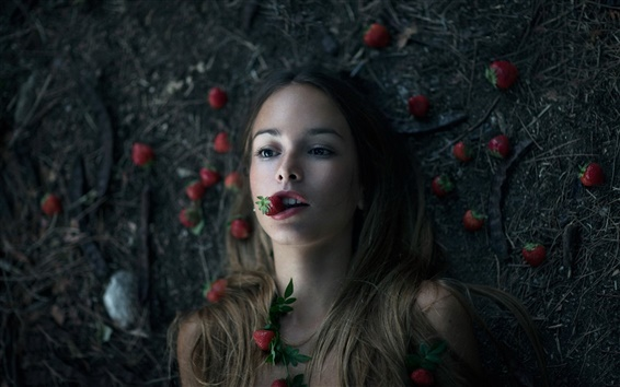 Wallpaper Creative pictures, girl, strawberries