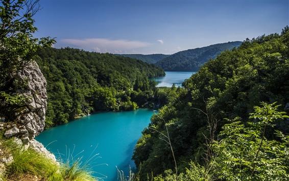 Wallpaper Croatia, Plitvice lakes national park, trees, greenery, nature landscape