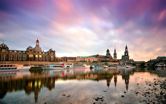 Fondos de pantalla Dresde, Alemania, por la mañana, ciudad, edificios, puerto, barcos, río Elbe