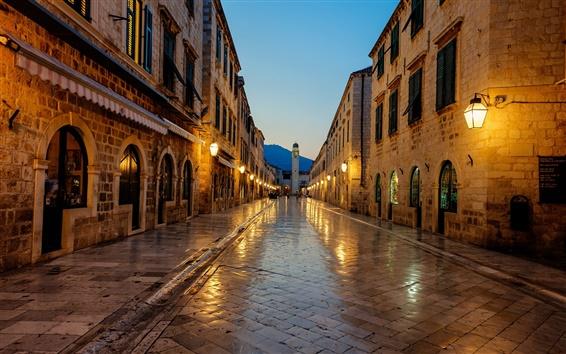 壁紙 ドブロブニク、クロアチア、日の出、小道、ライト、家