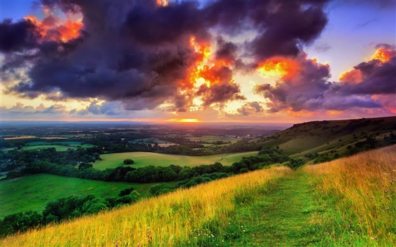 Fond d'écran Angleterre, West Sussex, village de Hassocks, nature, matin, lever de soleil, nuages