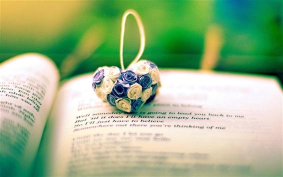 Wallpaper Flowers heart, pendant, book