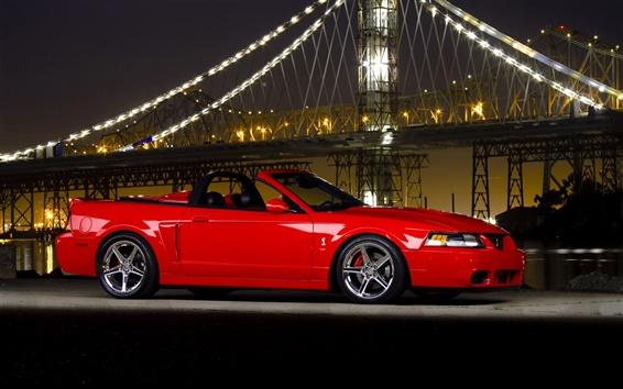 Обои Ford Mustang Cobra суперкар, ночь, мост