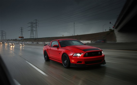Wallpaper Ford Mustang RTR red supercar, highway, speed, rain