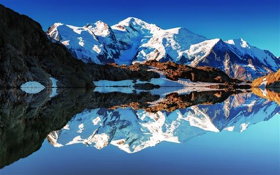 Wallpaper France, Alps, Mont Blanc, white mountains, lake, reflections, mirror