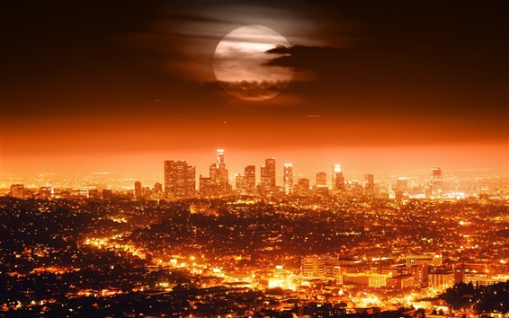 Wallpaper Full moon, USA, Los Angeles, night, city, lights, cityscapes, red style