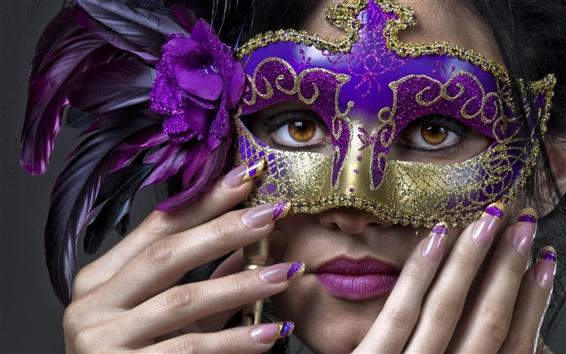壁紙 女の子、マスク、羽