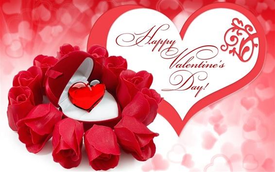 Papéis de Parede Feliz Dia dos Namorados, flores rosa vermelha, rubi