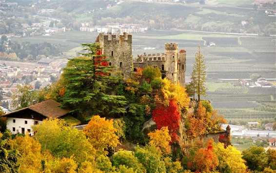 Wallpaper Italy, Castle, city, fall, trees