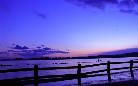 Wallpaper Japan, sea, fence, evening, sunset, blue, lilac sky