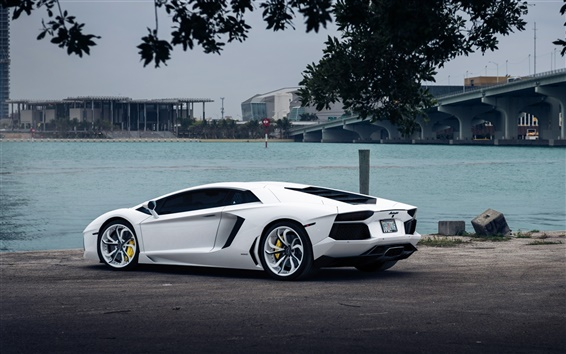 Fondos de pantalla Lamborghini Aventador supercar blanco en la orilla del río