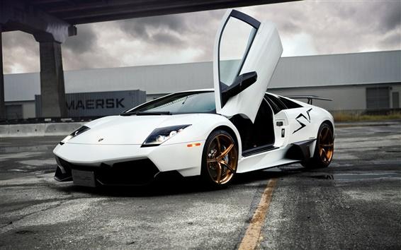 Wallpaper Lamborghini Murcielago white supercar