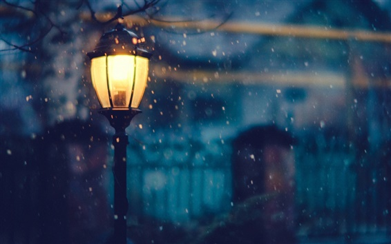 Wallpaper Lantern, lighting, night, snow, winter