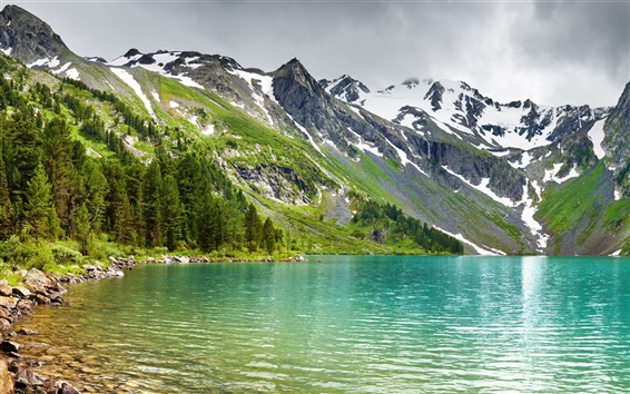 Wallpaper Mountains, lake, forest, peaks, snow, nature scenery