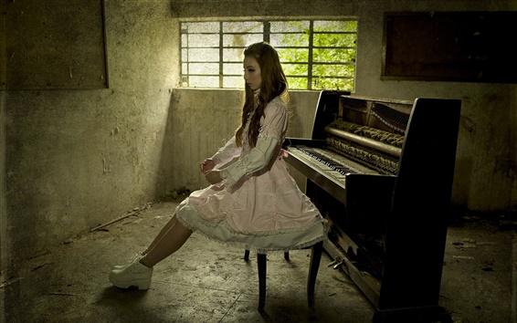 Обои Музыка девушка, фортепиано, комната
