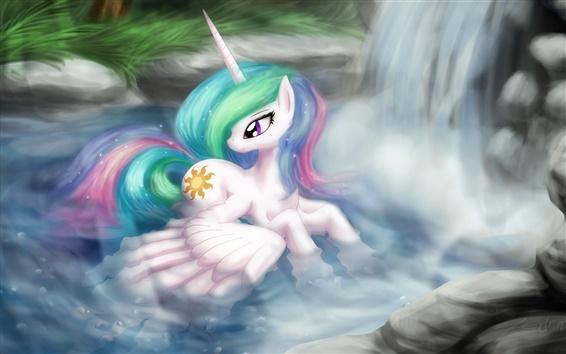 Wallpaper My Little Pony, cartoon, art, swimming, waterfall, wings