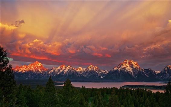 Обои Национальный парк Гранд-Титон, Вайоминг, восход, горы, красное небо, озеро