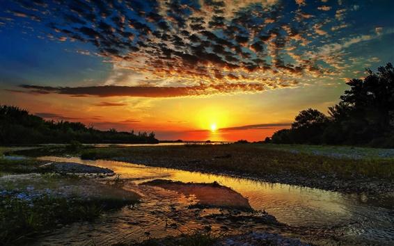 Wallpaper Nature, clouds, river, sun, sunrise