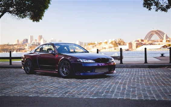 Wallpaper Nissan Silvia Spec-R S15 red car side view