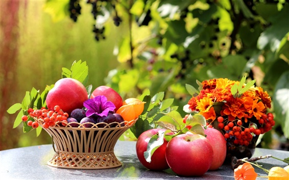 Wallpaper On the table, fruit, apples, plums, flowers, leaves, still life