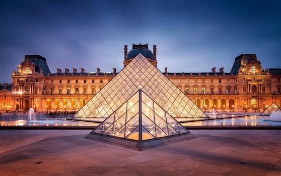 Wallpaper Paris, France, Louvre, city, lights, night, pyramid