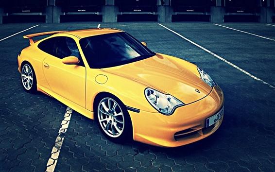 Обои Porsche 911 желтый суперкар