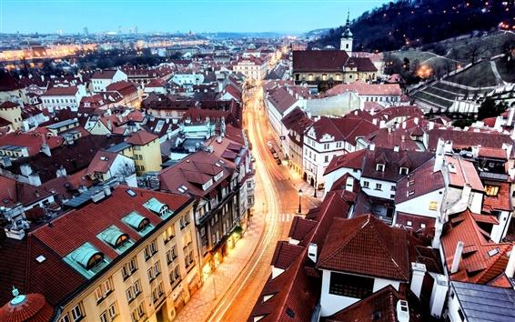 Обои Прага, город, дома, здания, ночь, дорога, свет