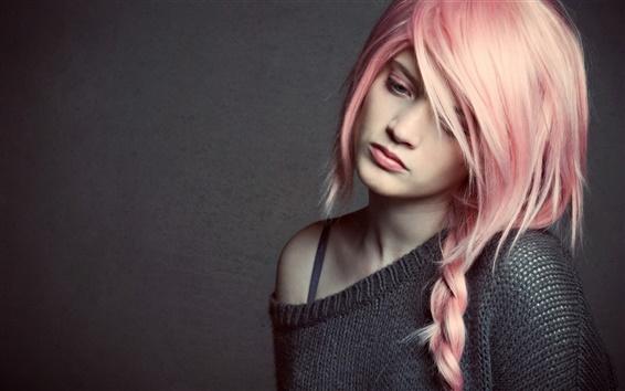 Wallpaper Pretty pink hair girl