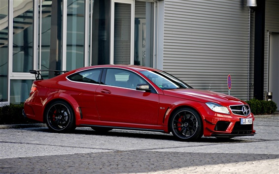 Wallpaper Red Mercedes-Benz C63 AMG coupe