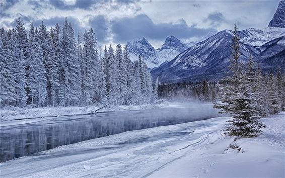 Fond d'écran Rivière, neige, glace, blanc