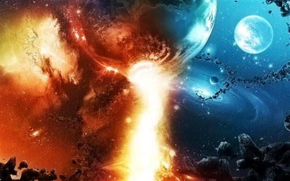 壁紙 スペース、惑星、空、星座、流星、石、星、火