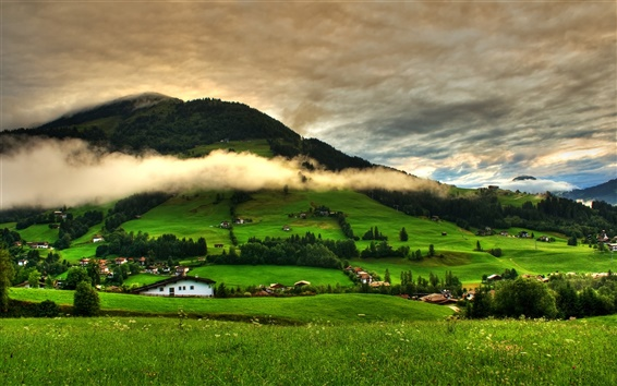 Wallpaper Spring landscape, grass, trees, green, mountains, clouds, houses