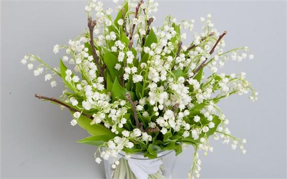 Wallpaper Spring, white little flowers