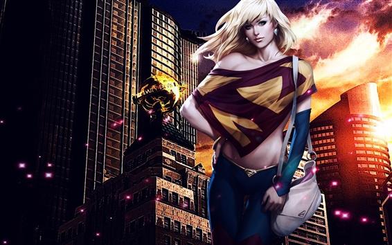 Обои Supergirl, DC Comics, город, ночь