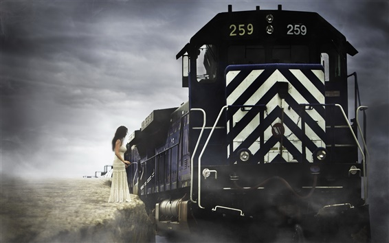Wallpaper Train, girl, fine art