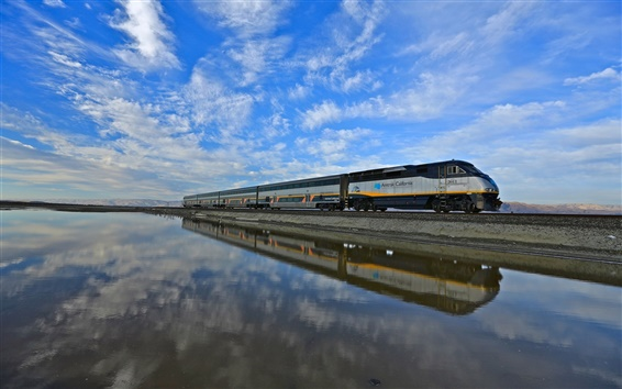 Wallpaper USA, California, train, blue sky, water, reflection