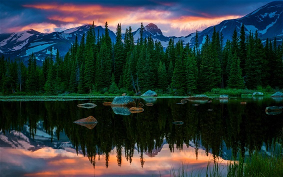 Wallpaper USA, Colorado, Red Rock Lakes, lake, mountain, forest, sunset